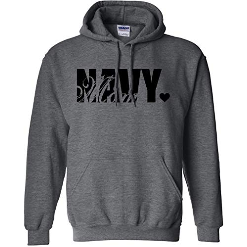 Navy Mom Hooded Sweatshirt in Dark Heather Gray - Small