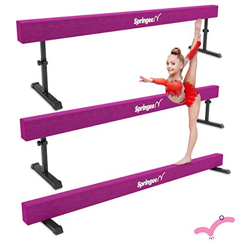 Springee 8ft Adjustable Balance Beam - Gymnastics Equipment for Home - Solid Suede Balance Beam