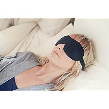 Luxury Patented Sleep Mask, Nidra® Deep Rest Eye Mask with Contoured Shape and Adjustable Head Strap, Sleep Satisfaction Guaranteed, Sleep Anywhere, Anytime