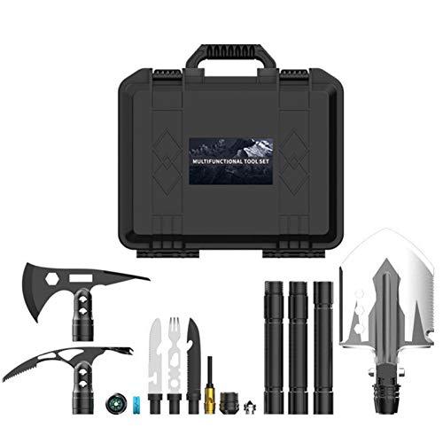 Bluetooth earphone Survival Shovel Multi Tool Toolbox, 3 Köpfe in 1 Wilderness Survival Set Ingenieur Schaufelaxt Hackmesser Und Gabel Für Camping, Wandern, Jagen, Angeln, Auto, Outdoor
