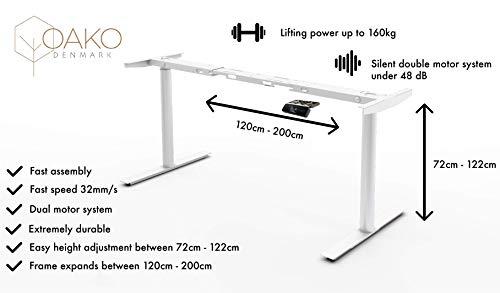 Höhenverstellbarer Schreibtisch Elektrisch höhenverstellbares Tischgestell, passt für alle gängigen Tischplatten. Mit Programmierbarem Speicher, Softstart/-Stop und Anti-kollision (White)