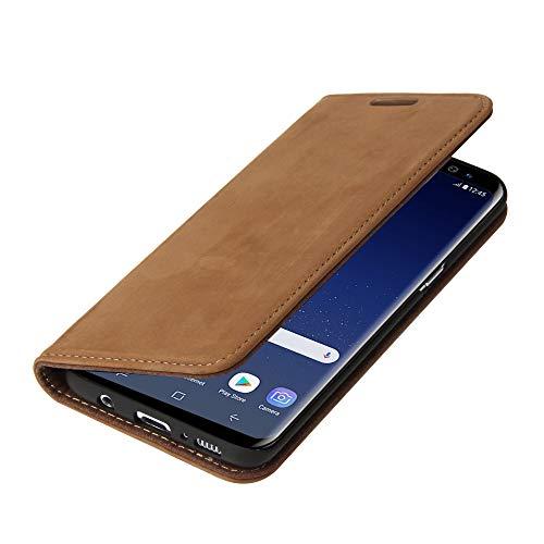 Wormcase ® Handytasche kompatibel mit Samsung Galaxy S8 – LEDERHÜLLE - KARTENFACH – Magnetverschluss – Wildleder - in Braun - Case Echt-Leder-Tasche-Hülle-Case Etui Flip Schutz-huelle Echtes-Leder
