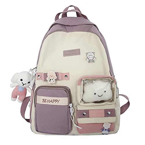 ISAKEN Mochila escolar para niñas, mochilas escolares impermeables para niños con accesorios bonitos Mochila para portátil Mochila de viaje para mujer, rosa