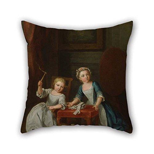 La pintura al óleo Joseph Francis Nollekens–Los niños en play, probablemente el hijo del artista Jacobus y a su hija Maria joanna Sophia cojín casos de 16x 16pulgadas/40por 40cm decoración regalo para B