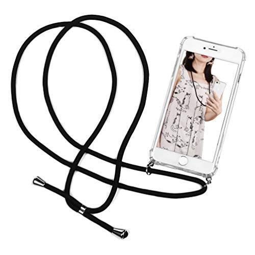 Case para iPhone 6 / 6S, Funda con Correa Colgante Transparente Carcasa de movil con Cuerda para Apple 6/ 6S, con Cordon para Llevar en el Cuello, Negro