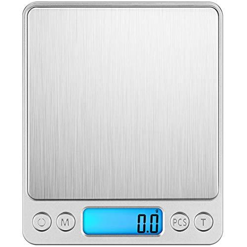 Takelablaze キッチンスケール はかり デジタル 電子はかり 計量器 電子天秤 0.1g単位 3kg キッチ クッキングスケール コンパクト 風袋引き機能 オートオフ シルバー LCDディスプレイ 測り 料理 調理 お菓子作り 薄型 電池式