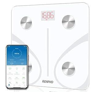 immagine di RENPHO Bilancia Pesapersone Intelligente Bluetooth Bilancia Pesa Persona Digitale con App - Misura Peso Corporeo, Massa Grassa, BMI, Massa Muscolare, Massa Ossea, Proteine, Bianco