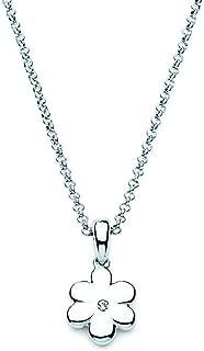 Little Diva Diamonds 925 Sterling Silver Children's Diamond Accent Flower Pendant Necklace, 16