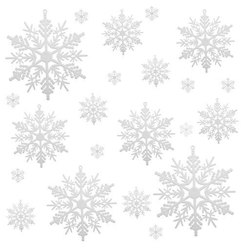 Naler Set di 50 Pezzi di Fiocchi di Neve per Natale Decoratici Fiocchi di Neve Addobbi per Albero di Natale Decorazione per Festa di Natale, Fiocchi di Neve di 6 Dimensioni