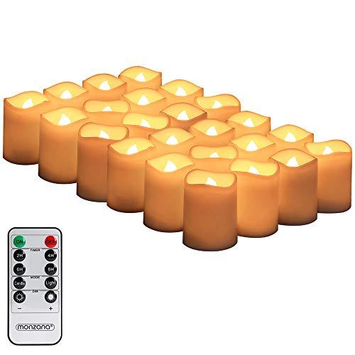 Monzana 24 LED Echtwachs Teelichter mit Fernbedienung Timer & Batterien elektrische Kerzen Flamme flackernd warmweiß
