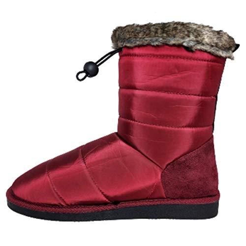 Botas Mujer Invierno Primavera 2021 Botines con Pelo Botas de Agua Mujer Impermeables Antideslizantes Ajustables Zapatos de Trabajo Formal Botas Elegantes Ligeras (Burdeos, Numeric_41)