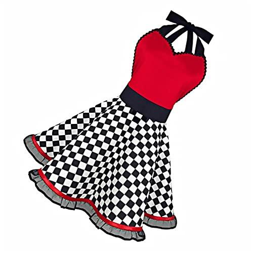 JINGGL Delantales Impermeables,Delantales Retro algodón Delantal Vestido Femenino de Limpieza de hogares