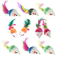 Airsun 10Pcs Furry Pet Cat Toys Mice, Cat Toy Mouse, Pet Toys for Cats, Cat Catcher for Feather Tail...
