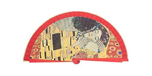 Abanico de Madera Arte El Beso de Klimt