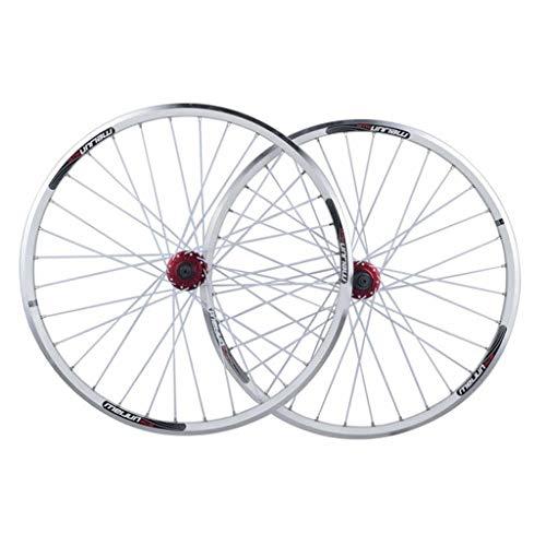 Zyy Paire de Roues de vélo de 26 Pouces, Jante à Double paroi for Jante VTT à dégagement Rapide V-Brake Hybrid/Mountain Bike Trou Trou 7 8 9 10 Vitesse Double Paroi Jantes (Color : White)