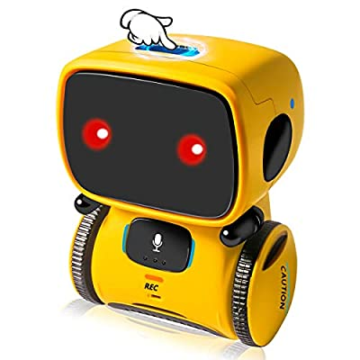 GOTSEVEN Robot Toys, Educational Stem Toys Robotics for Kids, Intelligent Partner and Teacher, with Voice Controlled and Touch Sensor, Singing, Dancing, Repeating, Gift for Kids Age 3+ (Yellow)