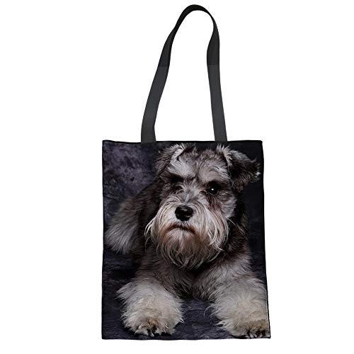 Nopersonality Damen-Handtasche aus Segeltuch mit niedlichem Tiermotiv, Einkaufstasche, umweltfreundlich (Schnauzer)