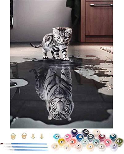 WINAROI Malen Nach Zahlen Erwachsene Kinder, DIY Paint by Numbers, Handgemalt Ölgemälde Auf Leinwand, Katze oder Tiger Leinwanddruck Wandkunst Dekoration Home Haus Deko(Ohne Rahmen) 40 * 50 cm