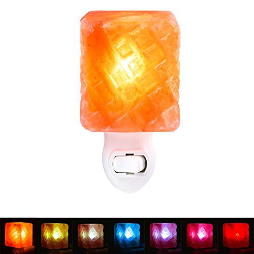 Authda Mini Salzlampe Himalaya led 7-Farbes Mauer Leichte hand Salzkristall-Lampen Naturalshape Dekorative Nachtischlampe Nachtlicht (Lingge shape - 5.6 * 5.6 * 6.4 cm)