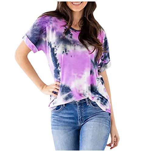 Andouy Damen Tie-Dye T-Shirt Farbverlauf Kurzarmhemd Oversize Bunte Rundhals Casual Oberteile(S.Lila)