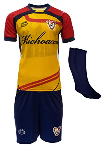 Arza Sport Michoacan Mexico Uniform Color Yellow/Red Jersey,Short,Socks and Number (Medium)