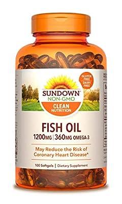 Sundown Fish Oil 1200 mg, 100 Softgels Non-GMO by Sundown (Packaging May Vary)