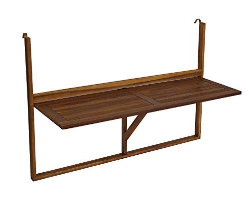 TPFGarden Balkonhängetisch in Langer Ausführung 120x40 cm, Akazie Holz FSC-Zertifiziert
