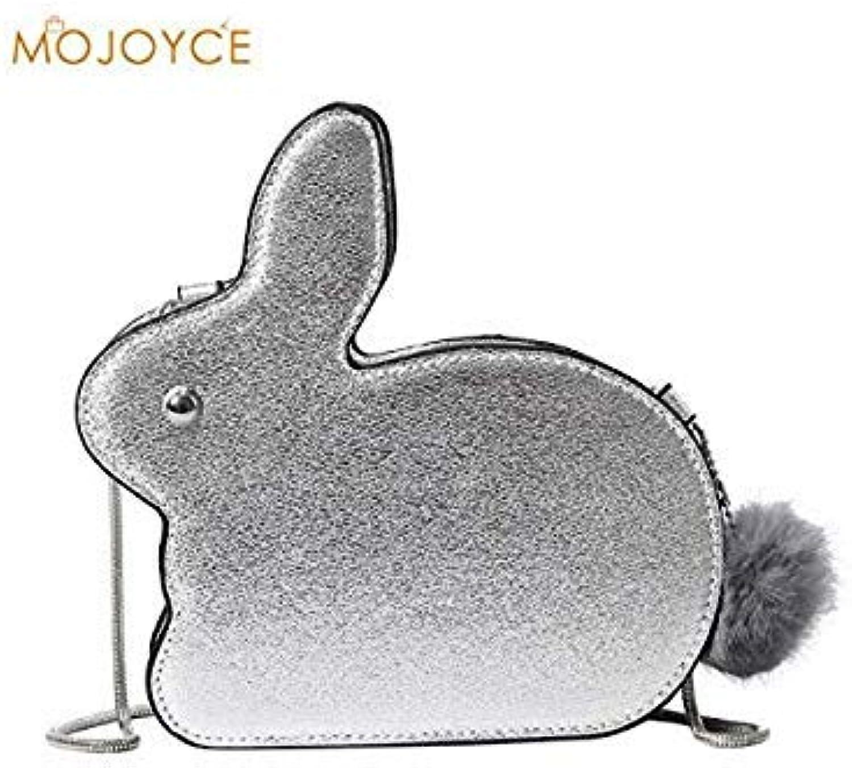 Bloomerang Women Cute Rabbit Shape PU Leather Satchel Chain Messenger Shoulder Bags PEPU color Silver Size 20cm