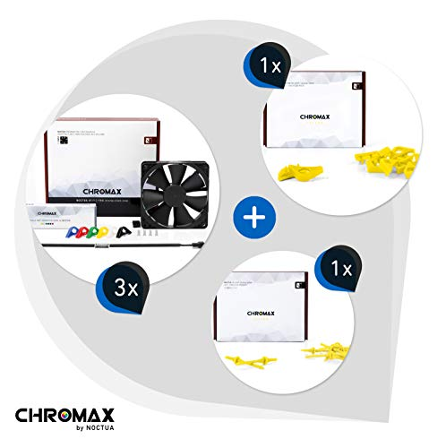 Chromax Bundle Giallo: 3x Noctua NF-F12 PWM chromax.black.swap, Ventola 4-Pin (120mm) + NA-SAVP1 / NA-SAV2 chromax.yellow