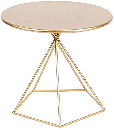 Sofá lateral, mesa redonda, pequeña mesa espaciosa, mesa de noche, mesa de café pequeña, café portátil, sala de estar, balcón y oficina de dormitorio,Gold