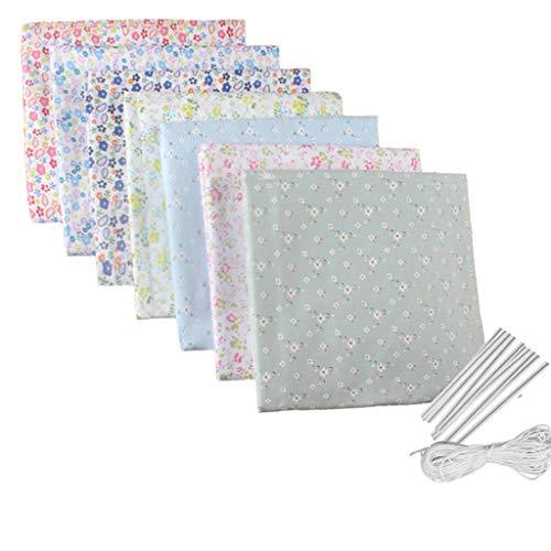 PPangUDing 10PC 25x25cm Baumwollstoff meterware Stoffpaket DIY Nähen Quilten Blumenmuster Stoffe Baumwolltuch mit vielfältiges Muster zum nähen Mundschutz (E)