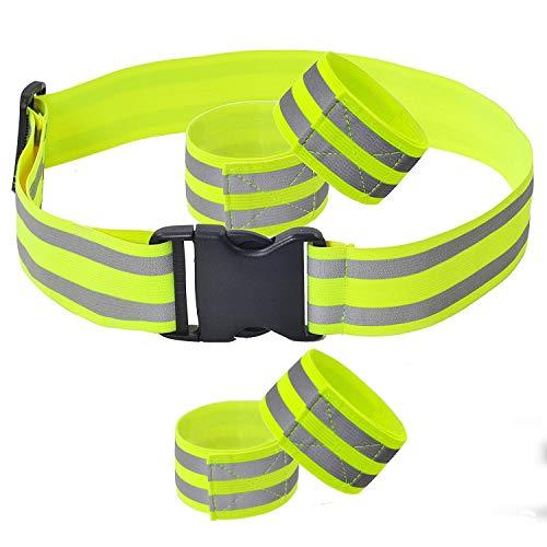 Reflektorbänder Sport FUCNEN Reflektorband Set Reflektoren laufen erwachsene Hi Vis Gürtel Safety Gear mit 4 PCS Reflektierende Band Knöchel Bands für Sicherheit Laufen Joggen Wandern Radfahren Pferd