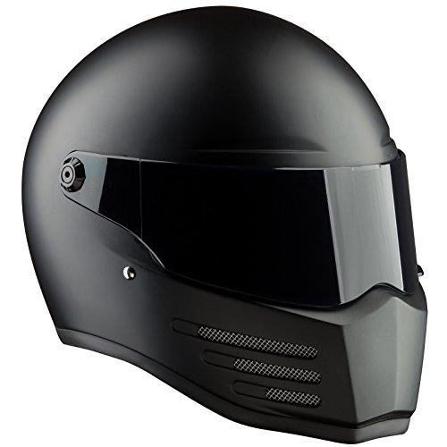Bandit Helmets Fighter ECE 22-05,geprüft,GFK,Fiberglas,Motorradhelm, Sports-Farbe:Dull Black, Größe:M(57/58)