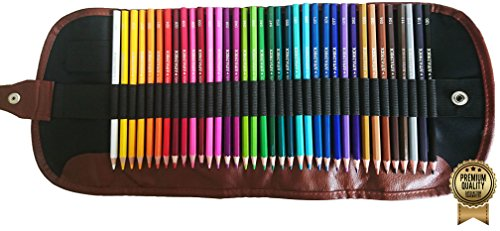 Amazrock Watercolor Pencils Set - 36 Colors (Soft Core Special Edition) | Water Soluble Artist Colored Pencils - Travel + Canvas Roll Colored Pencil Case