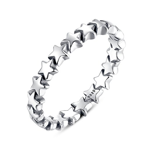 Qings Anillo de Plata de Ley 925,Five Stars Wedding Promise Eternity Ring para Mujer Lady Gifts Sizes (11.75)