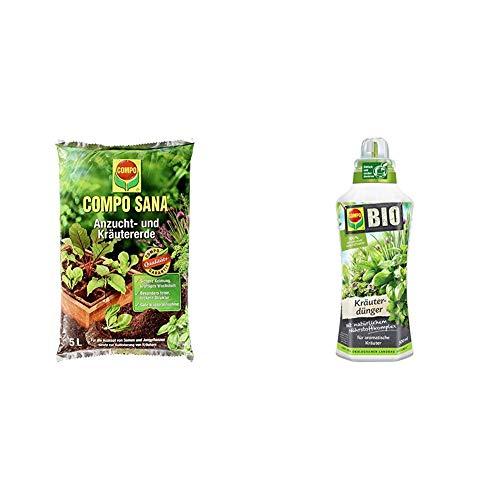 Compo Sana Anzucht- und Kräutererde mit 6 Wochen Dünger für alle Jung- und Kräuterpflanzen, Kultursubstrat, 5 Liter + Bio Kräuterdünger für alle Gewürzpflanzen und Kräuter