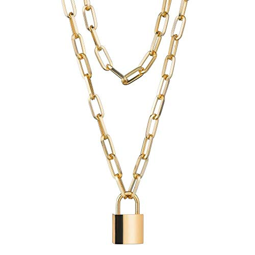 Gold-Tone Double Padlock Lock and Key Pendant Necklace 3.5 x 2.0cm & 24 Inch Chain