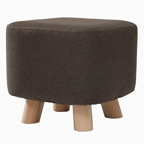 Bureaustoel, gewatteerde zitzak van stof, afneembaar, retro design, chaise longue, schoenenkast van beuken, massief hout, gewicht kussen 120 kg, bureaustoel (kleur: Qu Bruin