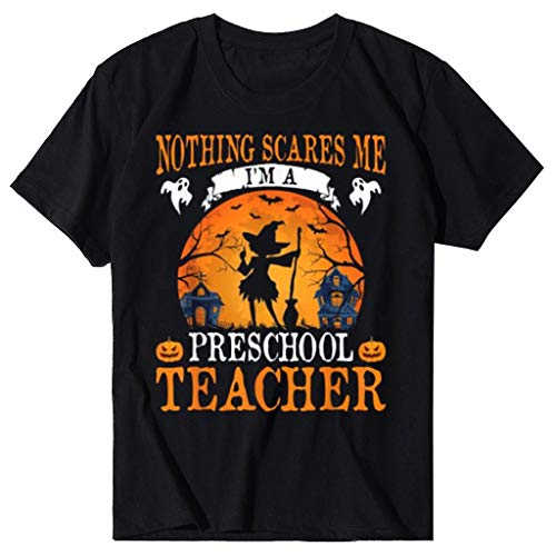 AG&THalloween T-Shirts for Women Funny Casual Pumpkin Print Pattern Short Sleeve Shirt Top O-Neck Slim Soft Tops Tee,Comfortable and Breathable Plus Size t-Shirts