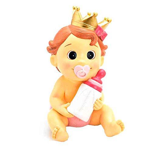 Muñeco para la tarta figura bebé niña con corona y biberón, para bautizo o BABY SHOWER. Hucha