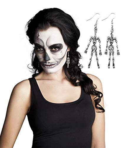 erdbeerclown - Kostüm Accessoires Zubehör Ohrringe Skelett mit Totenkopf, Earrings Skeleton with Skull, perfekt für Halloween Karneval und Fasching, Silber