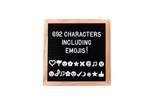Vintage Black Felt Letter Board 10x10 Inches by Inspire Letter Boards | Oak Frame | 692 Changeable Letters for Message, Notice, Reminder, Grocery List | Bonus Storage Bag, Scissor and Mounting Hook