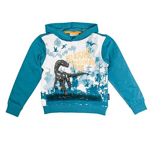 Salt & Pepper Jungen Kapuzensweaty Trouble Maker Dino Adventure Park Sweatshirt, Blau (Iced Blue Melange 433), 104 (Herstellergröße: 104/110)