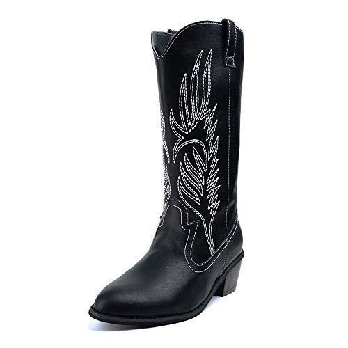 Cowboystiefel Damen Cowgirl Stiefel Hohe Frauen mit Absatz 5.3 cm PU Leder Mode Westernstiefel Elegant Winter Schwarz 39