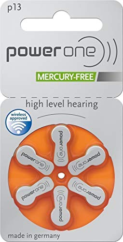 PowerOne Hearing Aid Batteries No Mercury Size 13, PR48 (60 Batteries) + Battery Keychain Kit