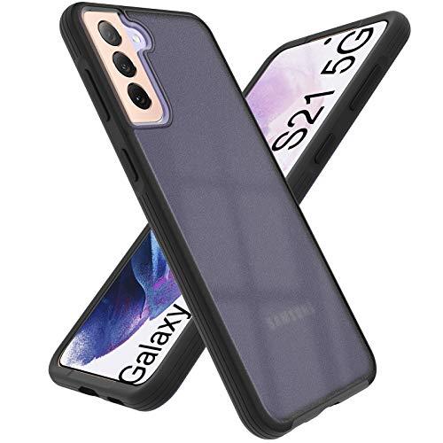 ORNARTO Hülle Kompatibel mit Samsung Galaxy S21 5G Case Militärischer Vollschutz,Durchscheinendes Matte PC mit Weichen Rahmen Kratzfest Handyhülle 6,2 Zoll Rosa