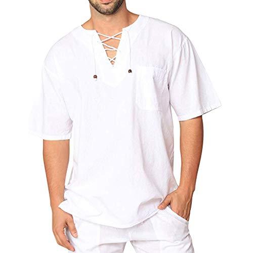 Celucke Herren Leinenhemd Yoga Shirt Mittelalter Kurzarm V Ausschnitt mit Schnürung, Leinen T Shirts Männer Vintage Fischerhemden Sommer Freizeithemd Leichte Bequem Atmungsaktives (Weiß, XL)