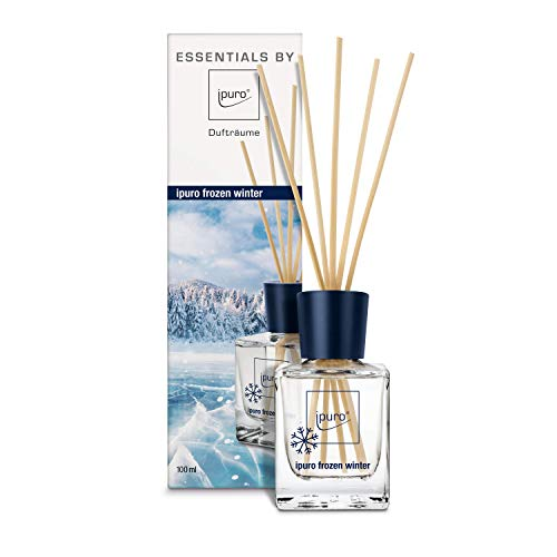 ipuro ESSENTIALS Raumduft frozen winter -Set für eine erfrischend-winterliche Atmosphäre - aus Glas mit Rattanstäbchen, 100 ml