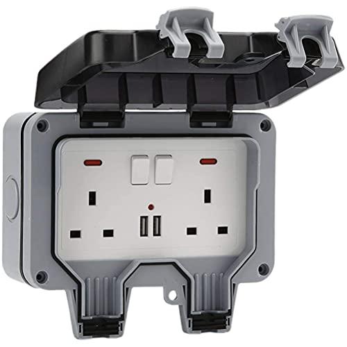 1 pieza IP66 enchufe de alimentación doble conmutado enchufe eléctrico de pared USB enchufe con cubierta resistente a la intemperie para garaje jardín patio uso al aire libre