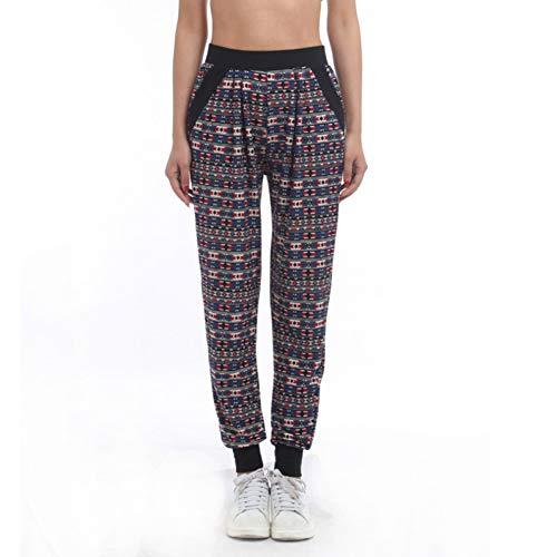 GDRFHJZ American Clothing Fashion Dames Plissé Azteekse opdruk joggerbroek casual broek met tas broek vrouwen joggingbroek